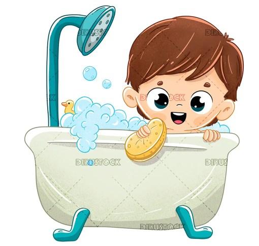 Boy bathing in the bathtub with foam