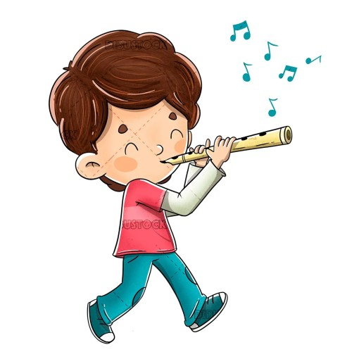 Boy playing the flute while walking