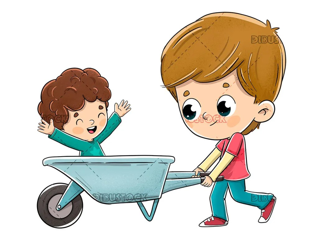 Boy playing with a wheelbarrow walking his brother