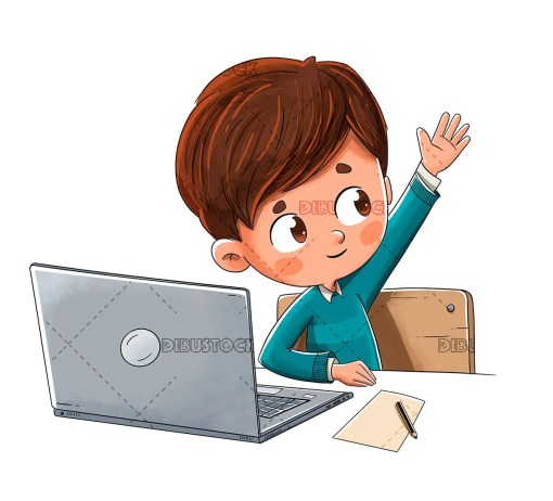Boy with a computer raising his hand in class