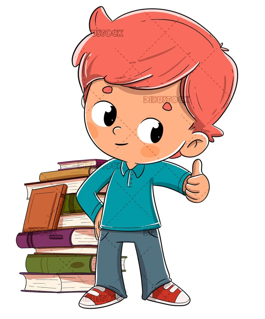 Boy with books giving the ok
