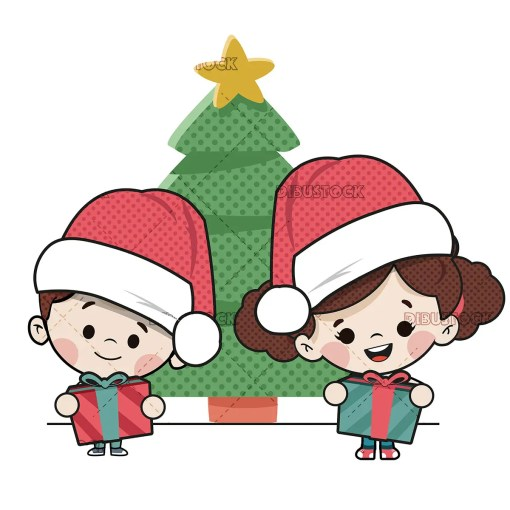 Children with gifts and a Christmas tree