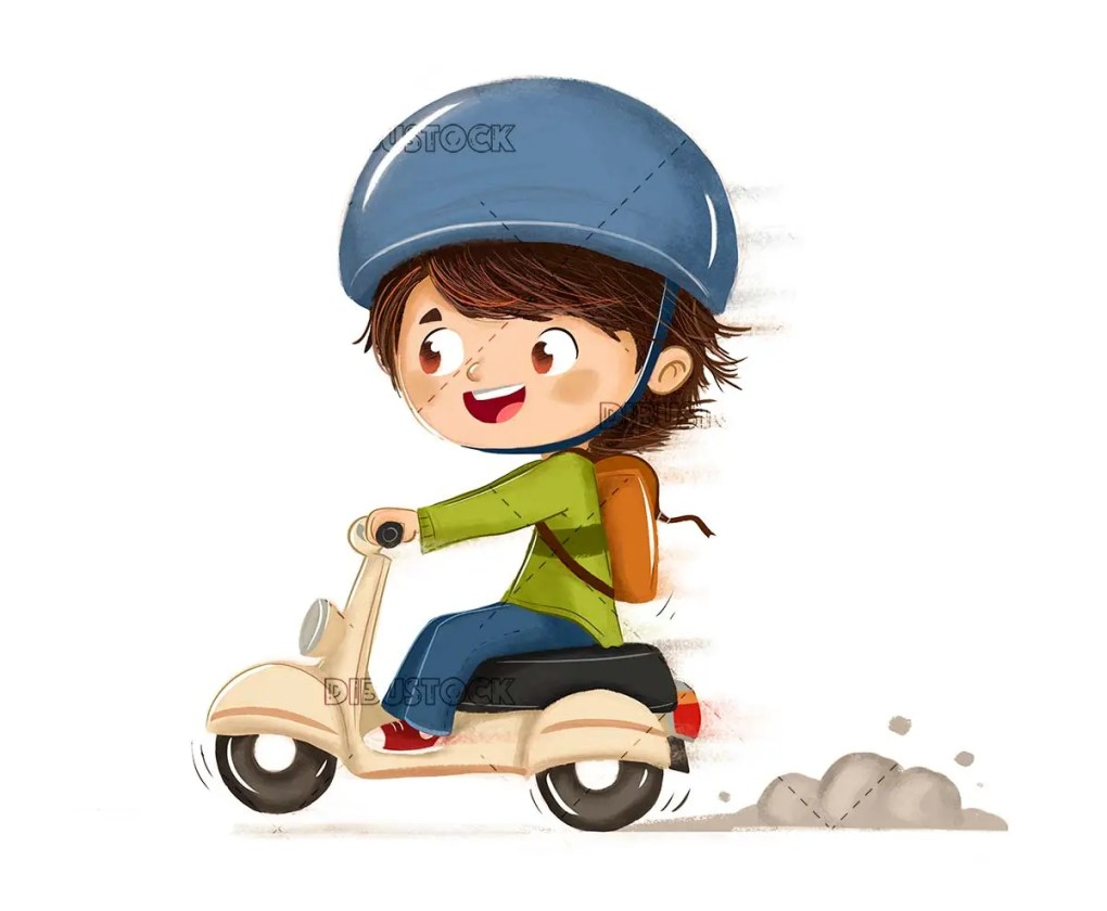 Driving a motorcycle with white background