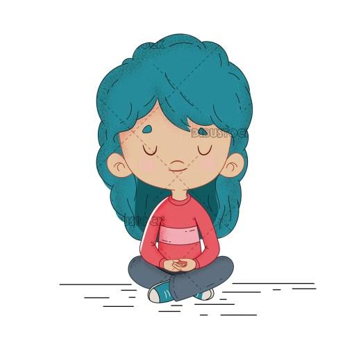 Little girl meditating calmly