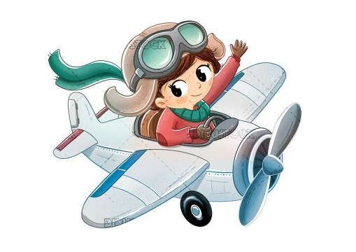 Little girl riding on a toy plane
