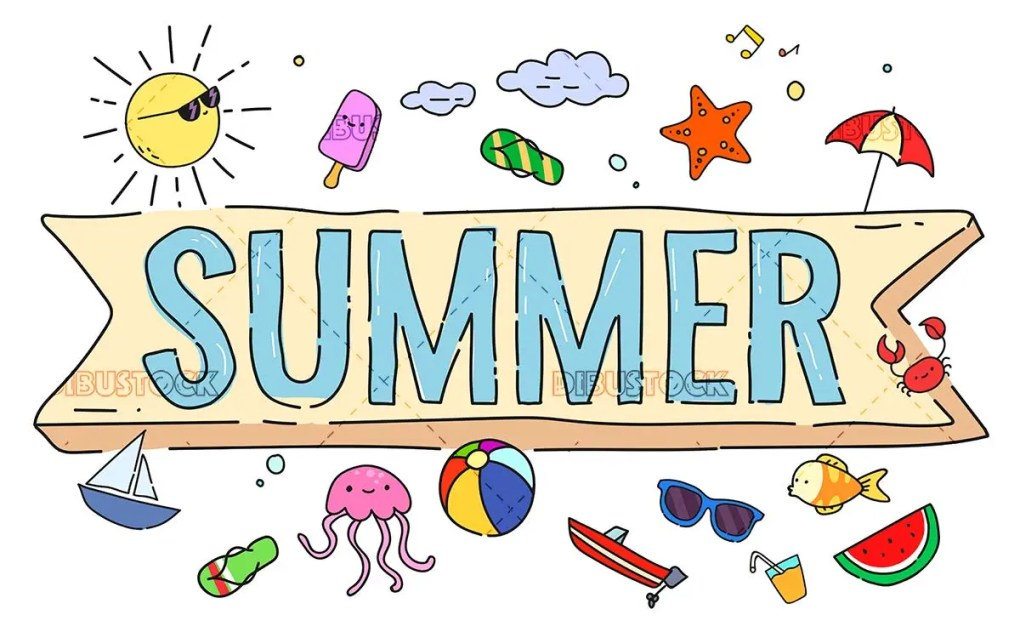 Summer concepts with many color illustrations