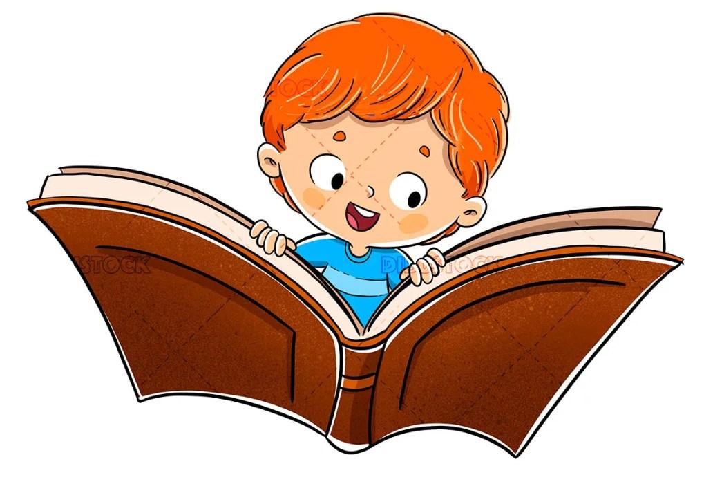 boy flying book