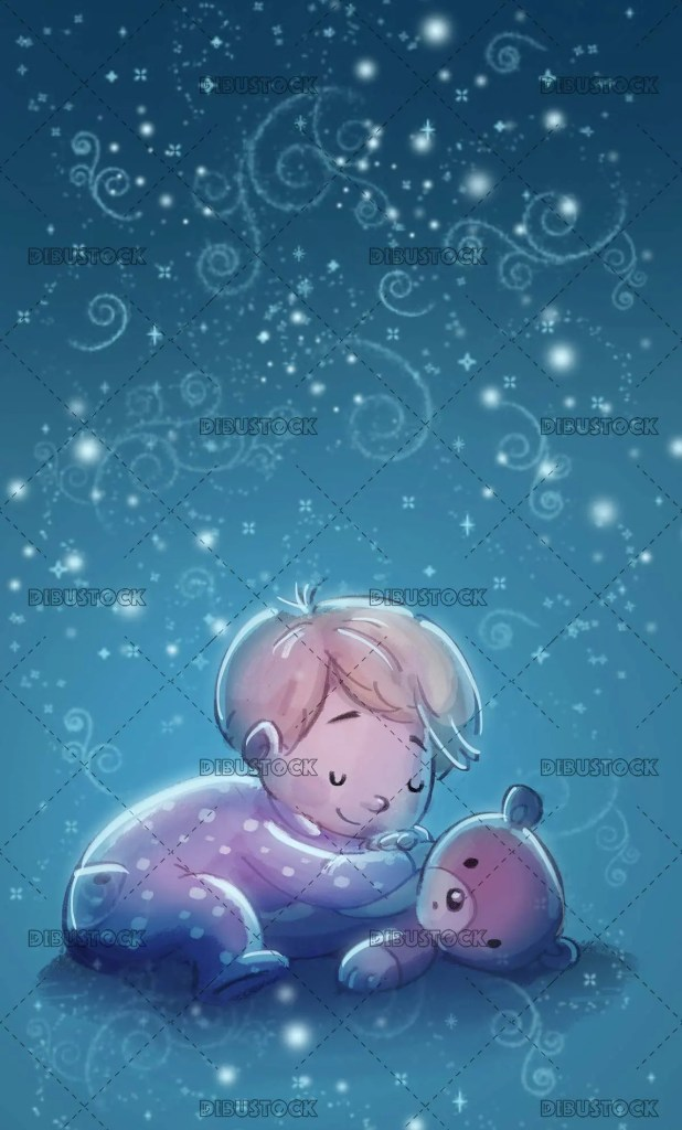 baby sleeping with teddy bear with texture background