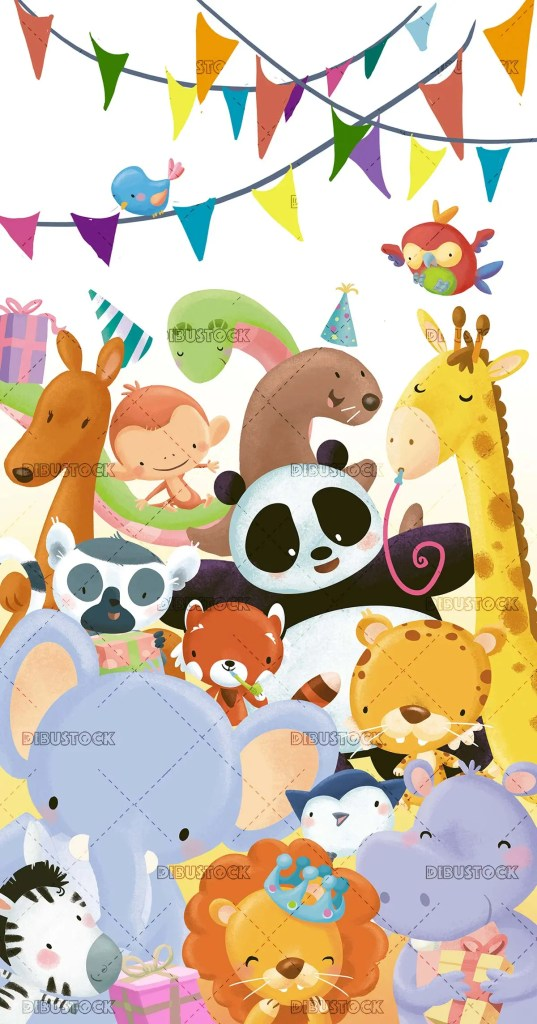 birthday greeting with animals