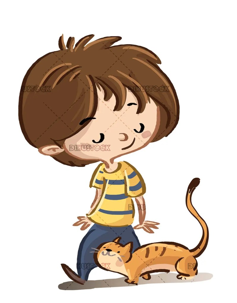 boy and cat walking on isolated background