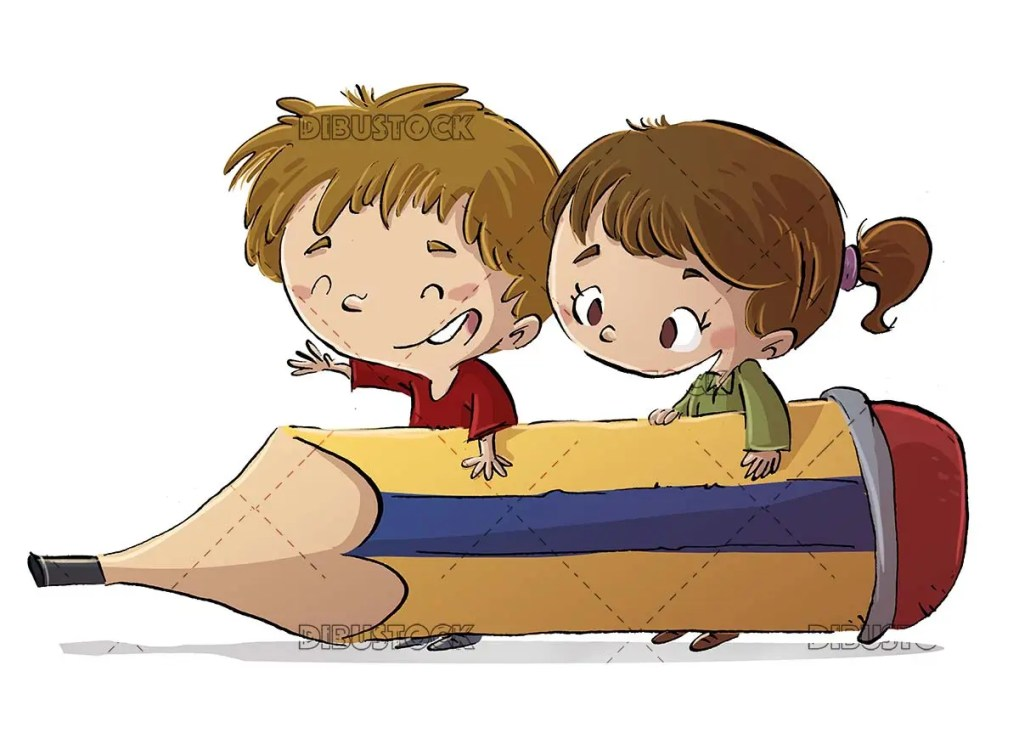 boy and girl carrying a giant pencil