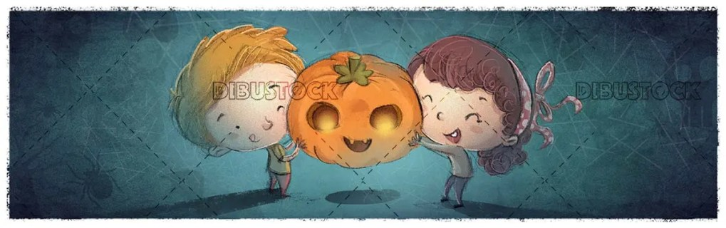 boy and girl catching a halloween pumpkin on blue textured background