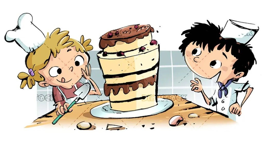 boy and girl chefs just preparing a cake