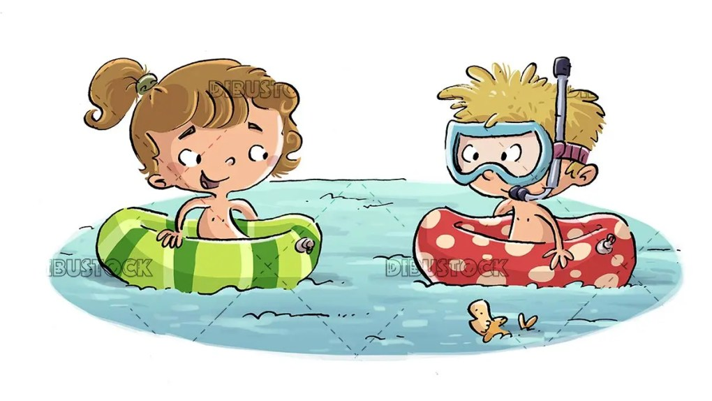 boy and girl in the water with floats