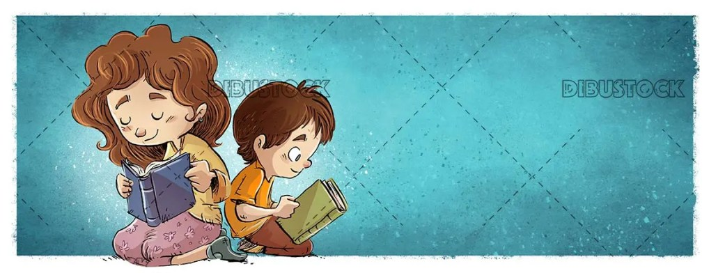 boy and girl sitting reading books leaning on blue background