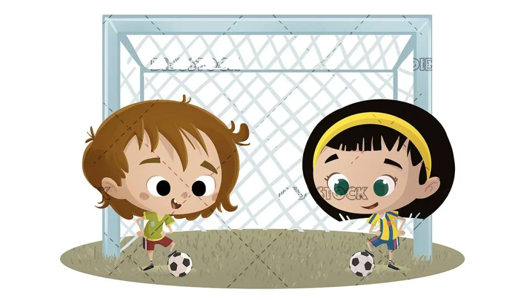 boy and girl soccer player in front of the soccer goal