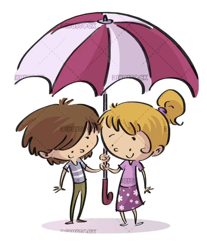 boy and girl with umbrella on white background