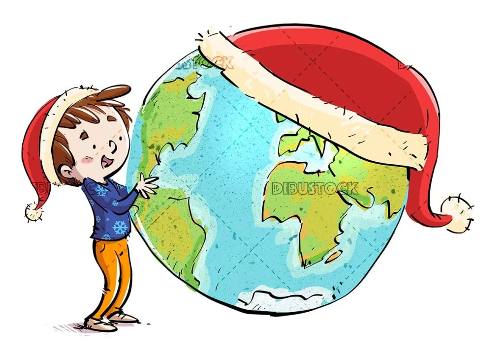 boy and planet earth with christmas hats