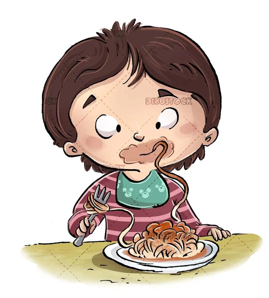 boy eating and enjoying a plate of spaghetti