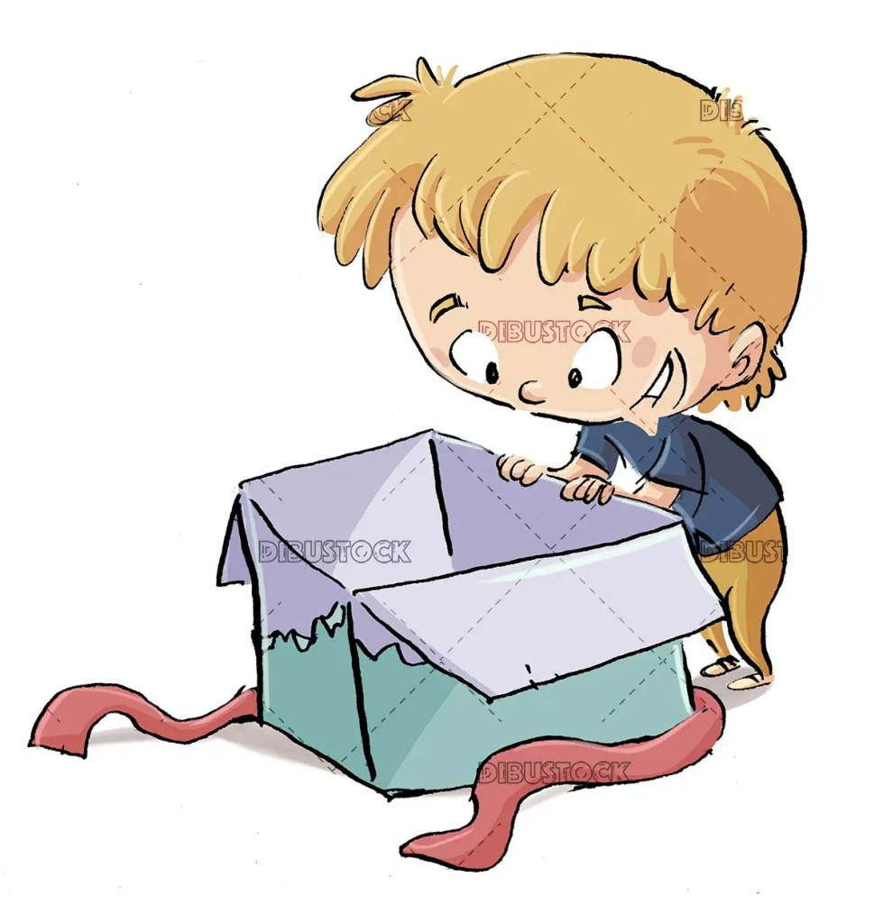 boy looking inside a gift