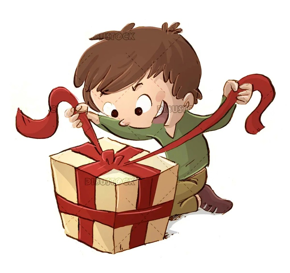 boy opening a gift with a surprise face