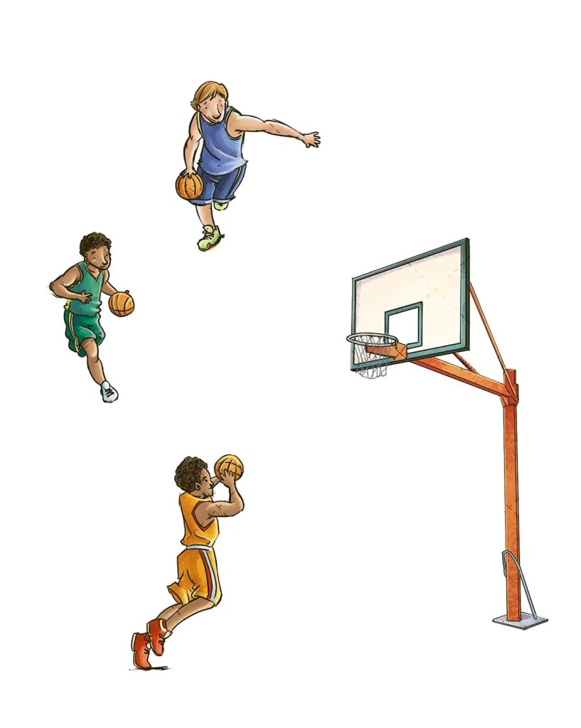 different poses of basketball players