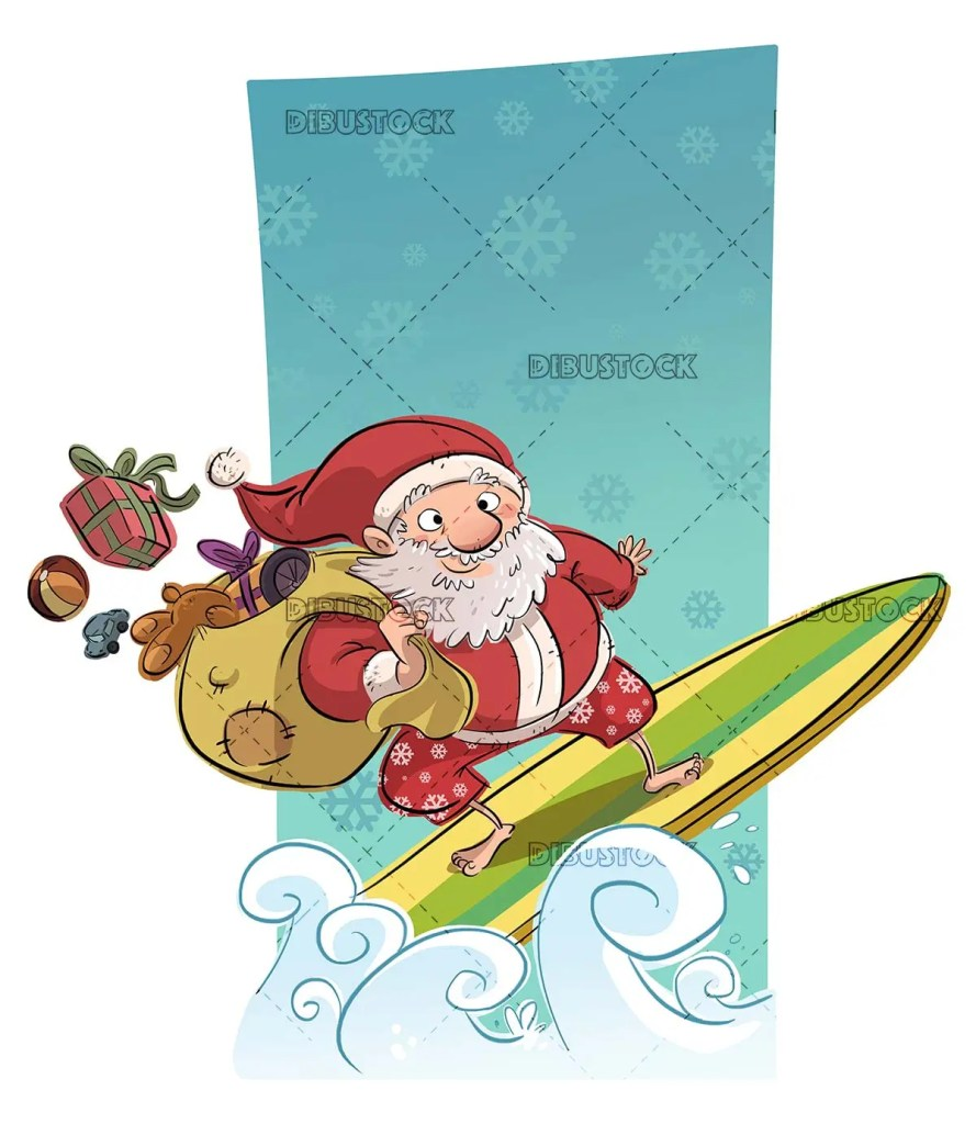 funny santa claus riding on a surfboard