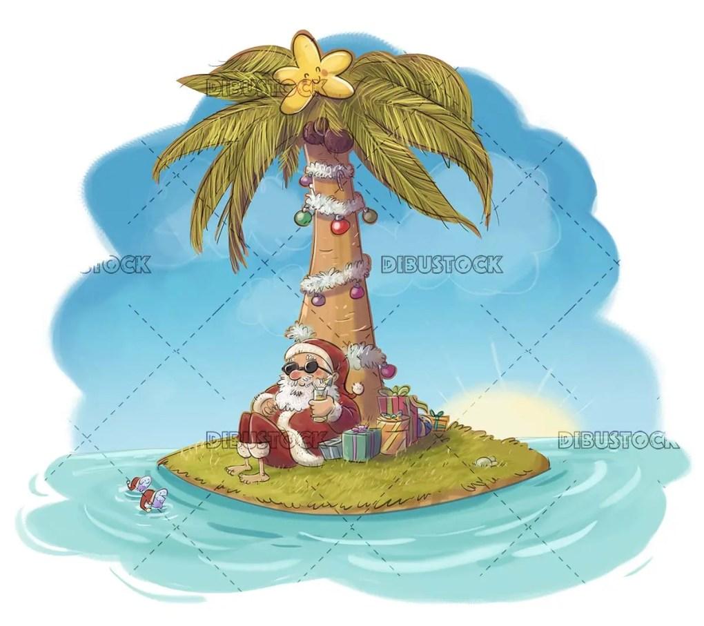 funny scene of santa claus on a desert island