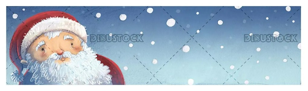 happy face of santa claus with snowing background