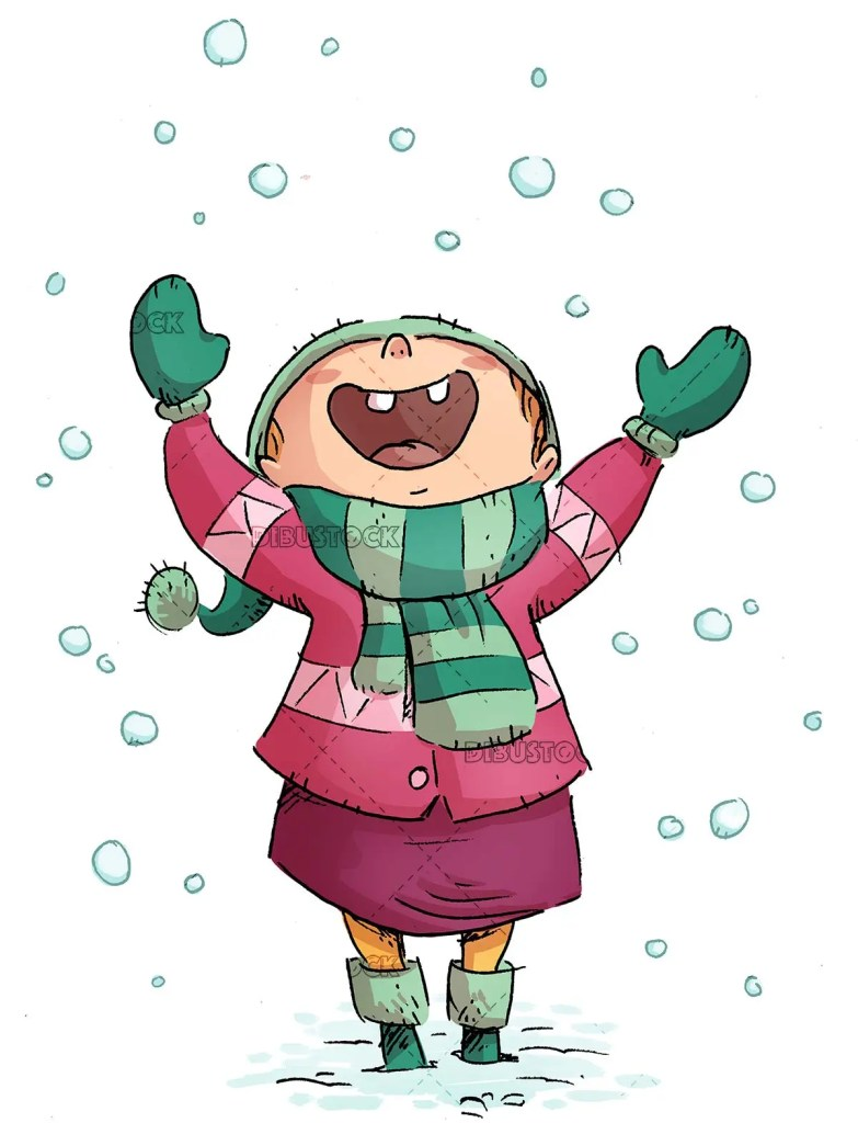 happy girl enjoying how snow falls on isolated background