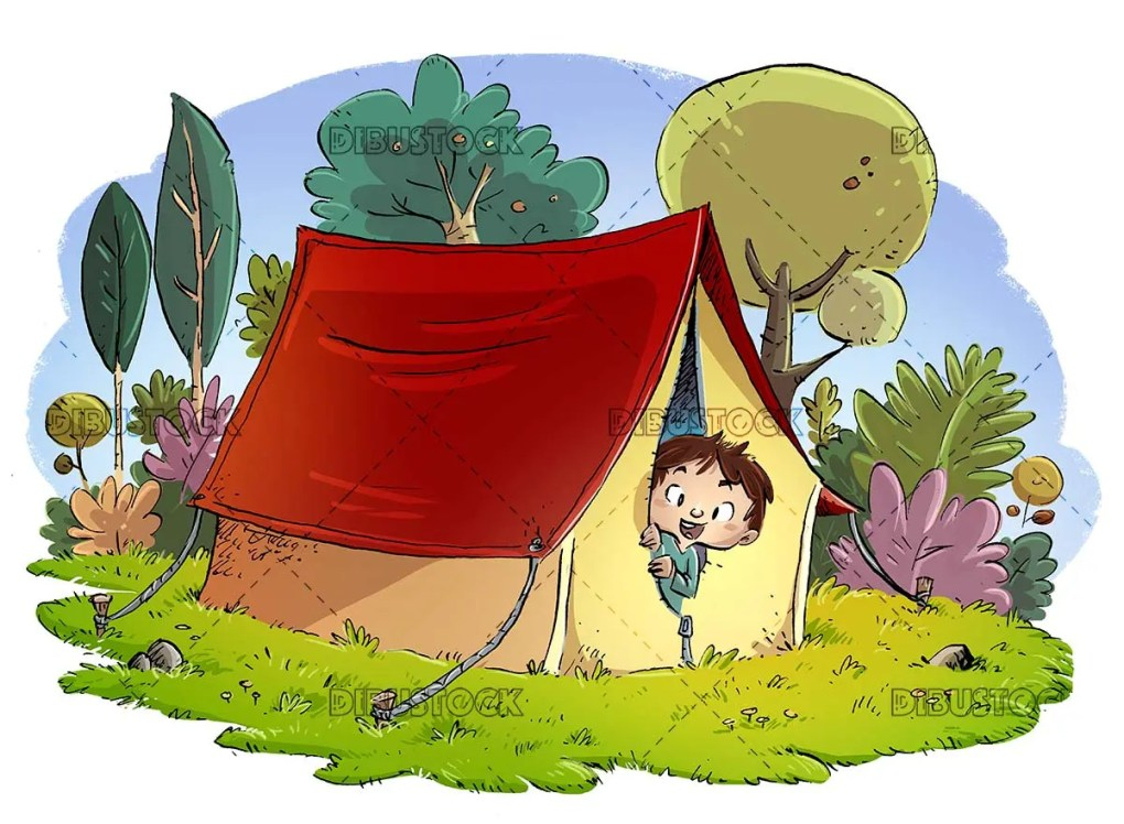 Boy with camping tent in the woods