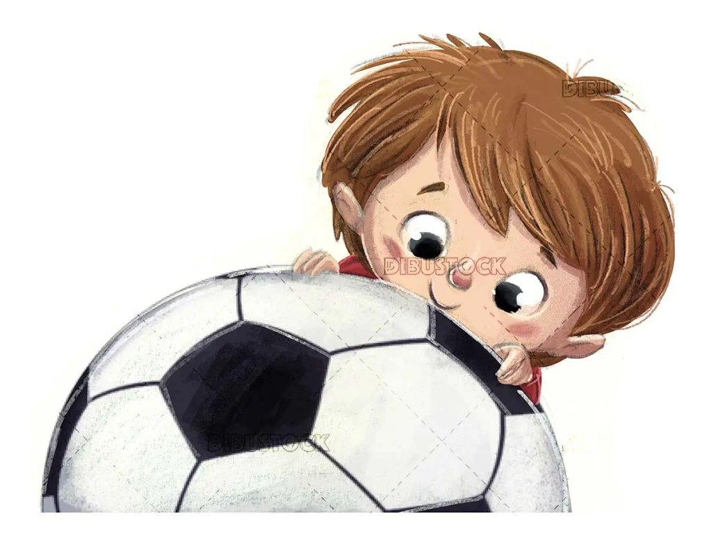 Child face with soccer ball and isolated background