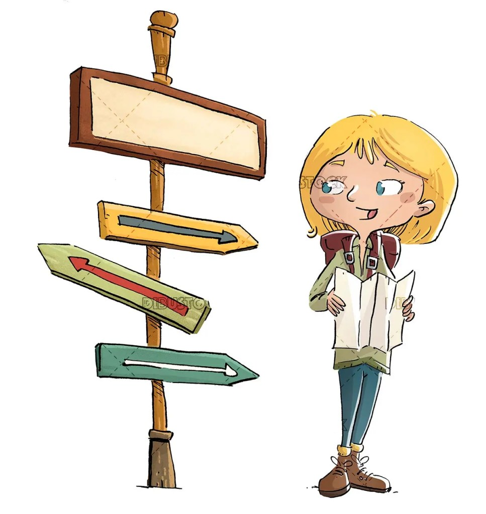 Explorer girl with map and signpost aislado