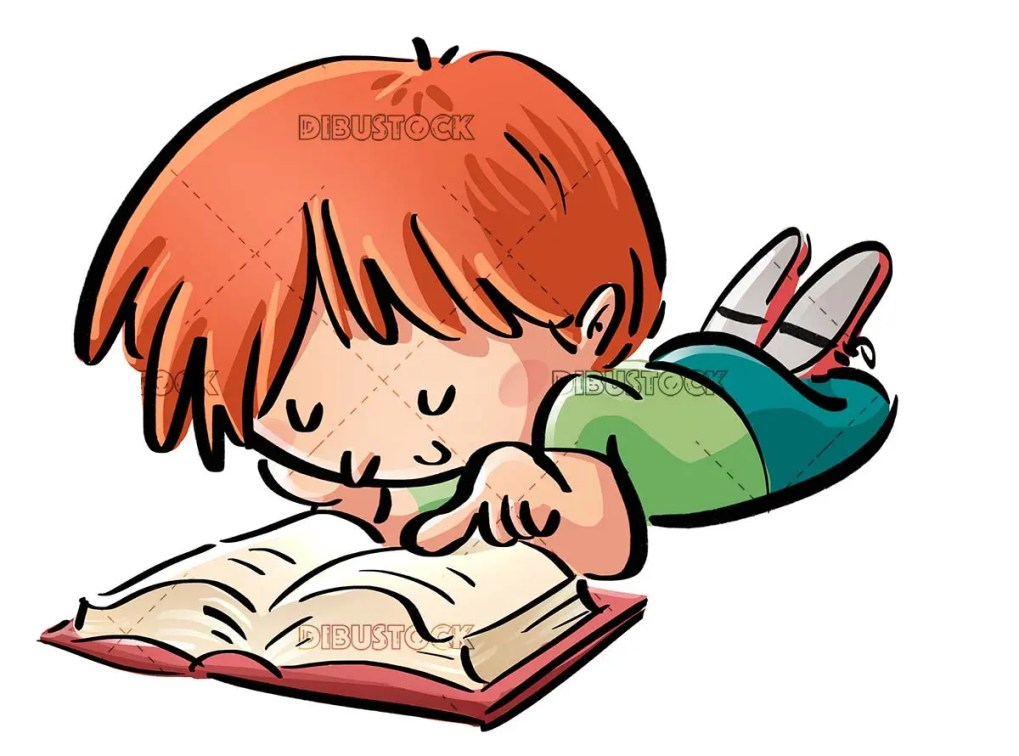 boy lying down pointing a book on isolated background