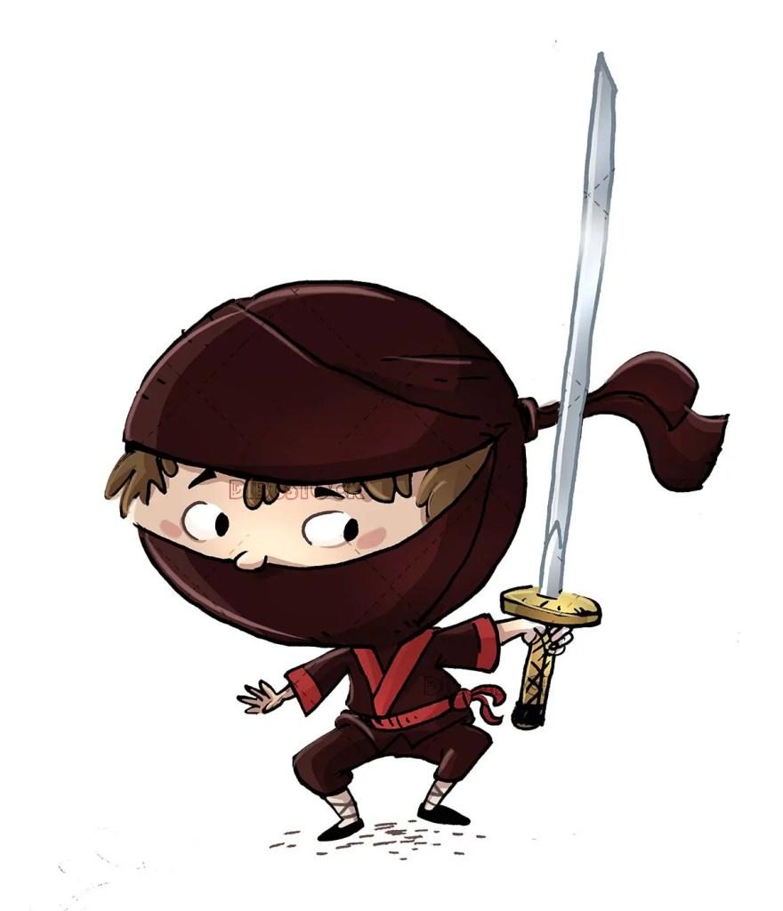 boy with a samurai ninja costume