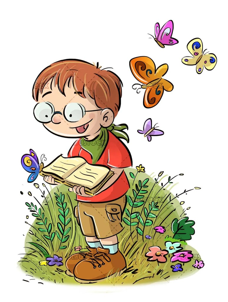 boy with glasses and open book in the middle of nature