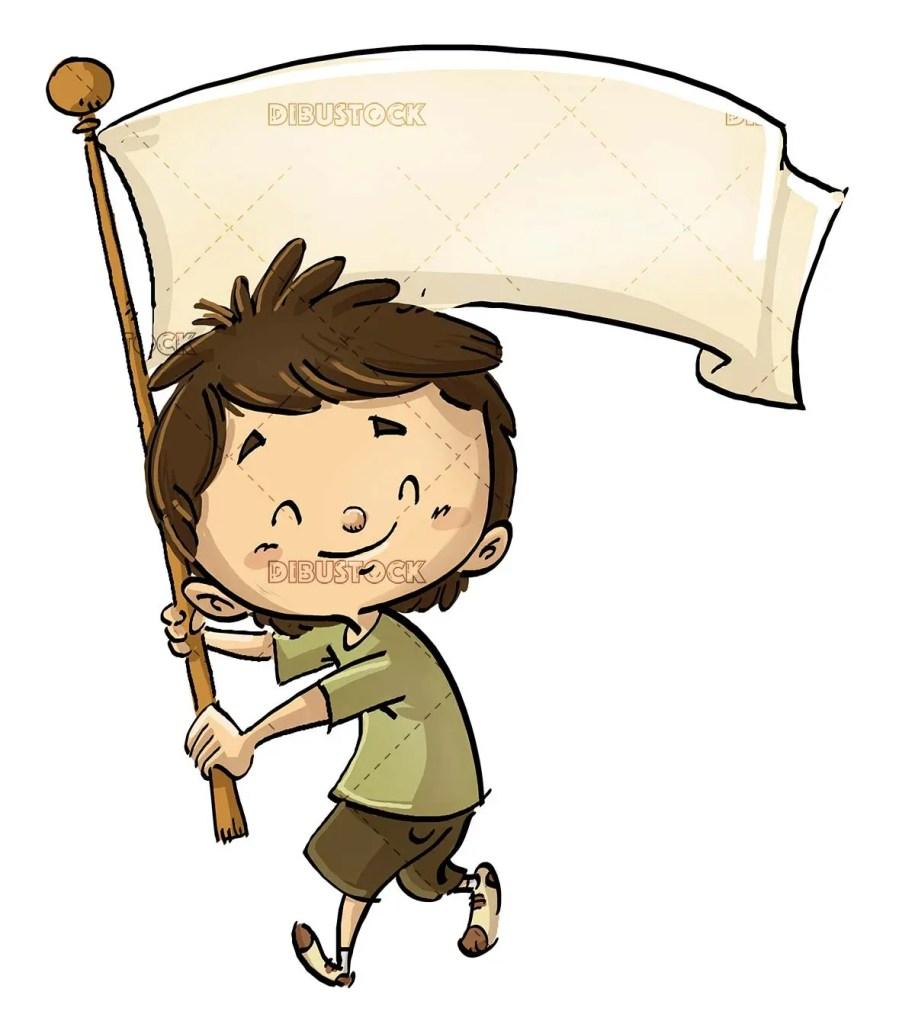 boy with white flag