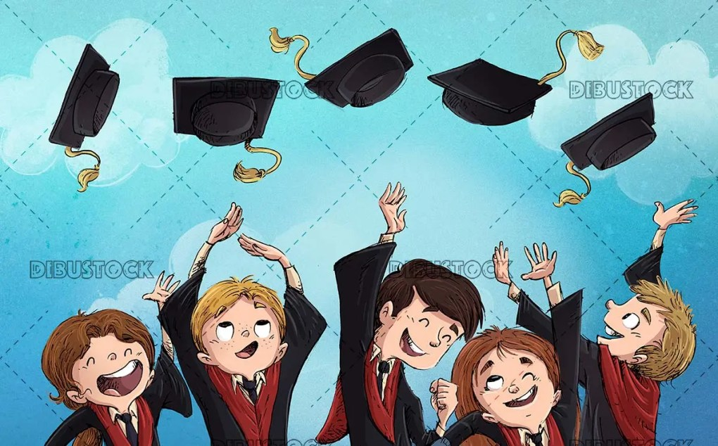 boys celebrating graduation throwing mortarboards with blue background