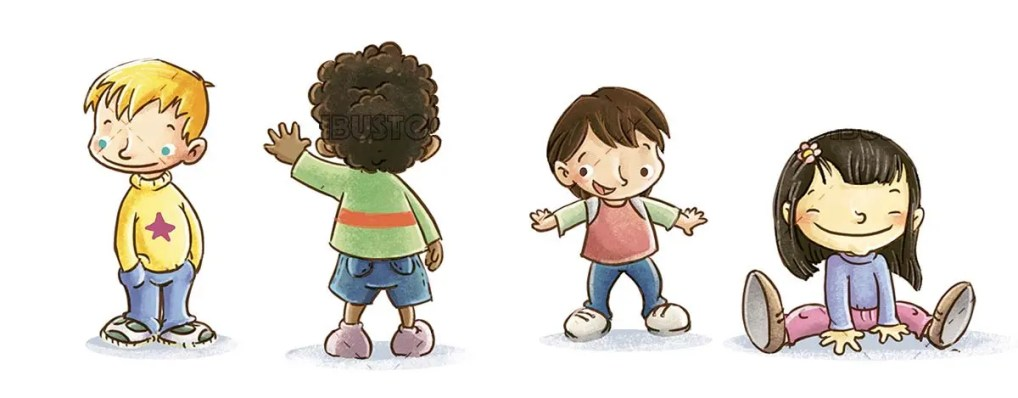 children from different cultures and postures