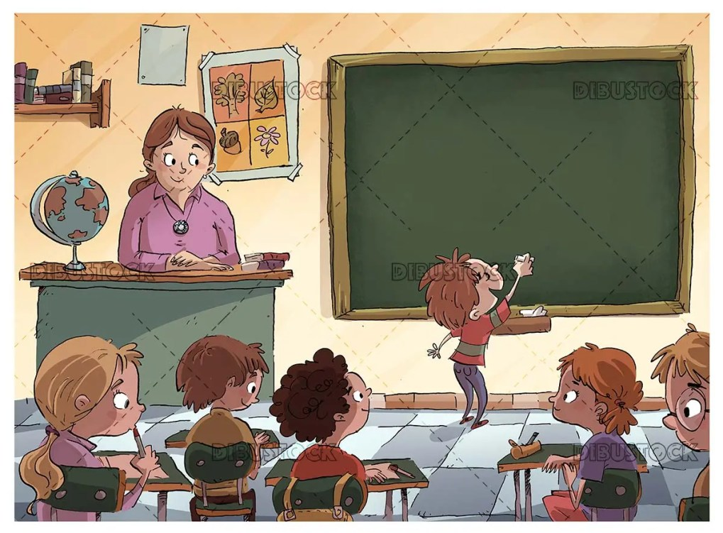 classroom with students and teacher looking with a child writes on the blackboard