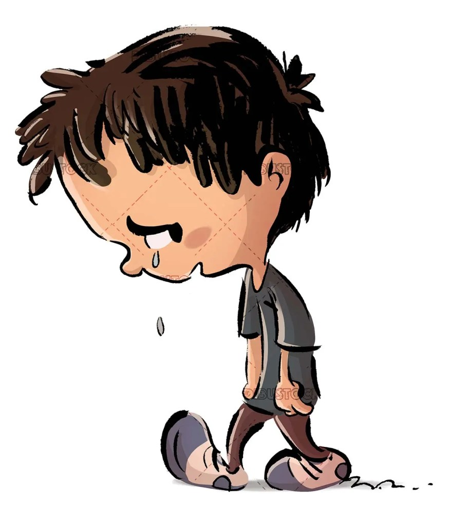crying boy walking sad