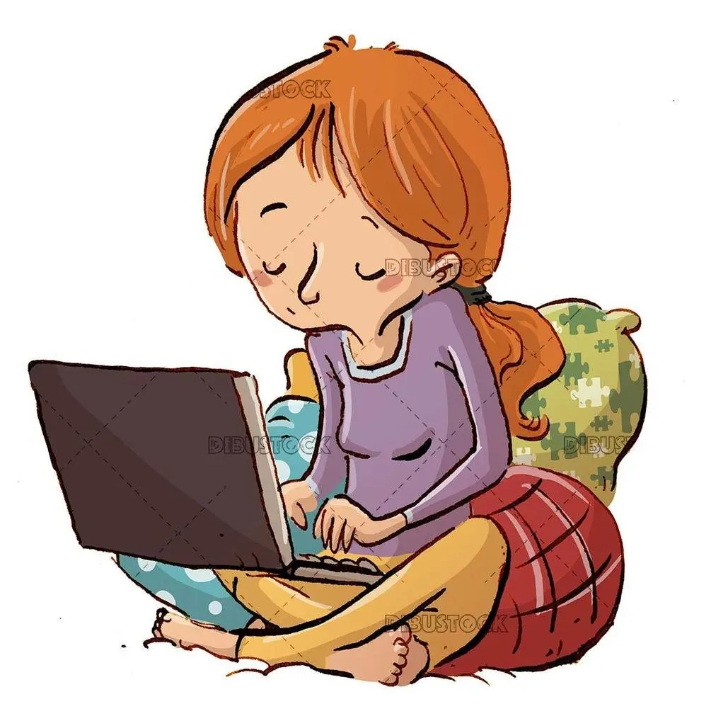 girl sitting between cushions writing with laptop