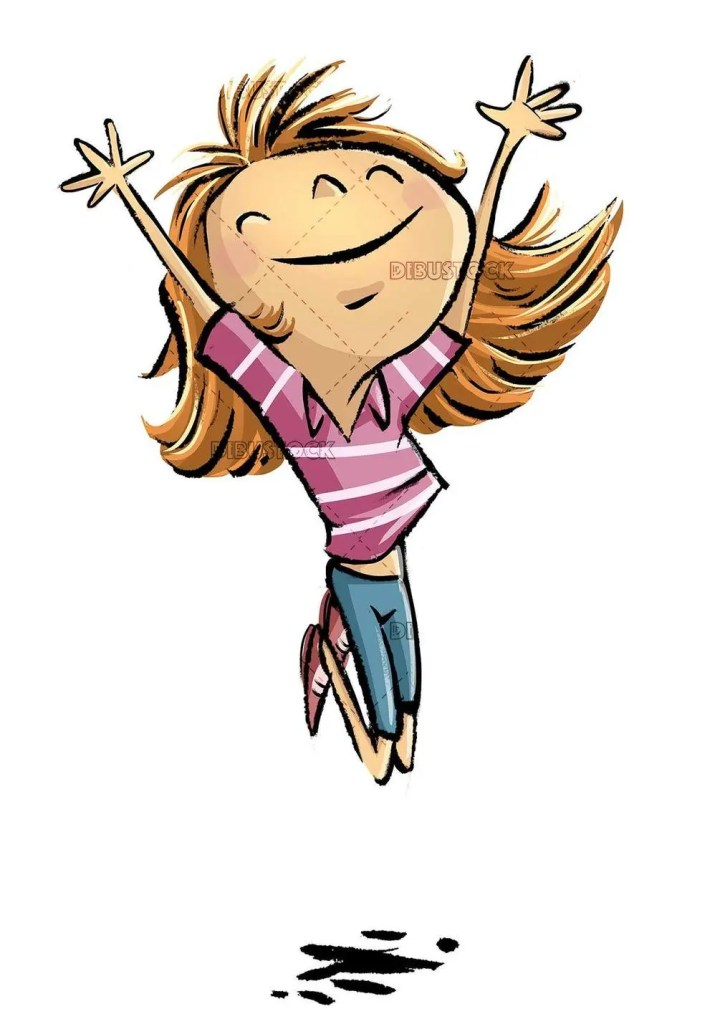 happy girl jumping with joy on isolated background