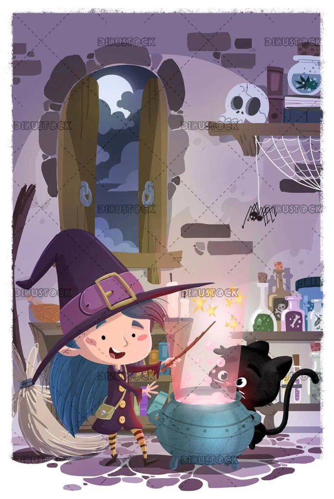 happy witch and black cat doing magic with magic cauldron