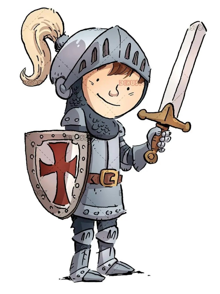 knight boy with sword and armor isolated