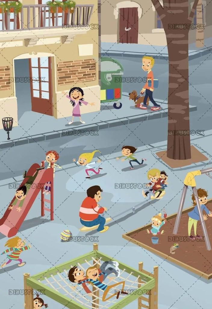 scene of an urban playground