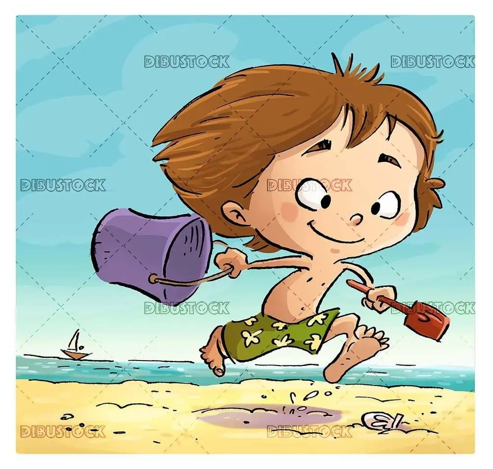 scene of boy running along the beach