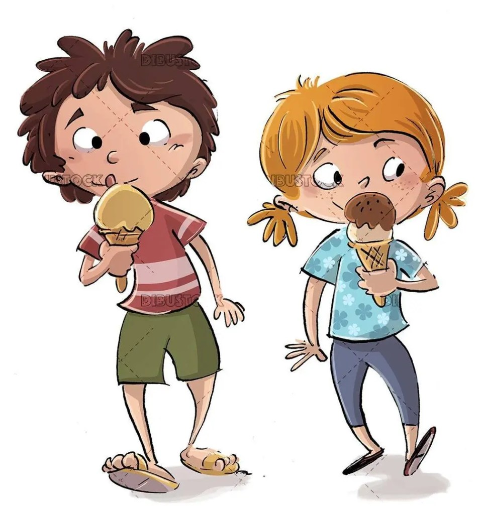 two children walking and eating ice cream happy