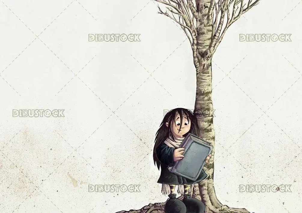 witch with book in hands and a tree in the background