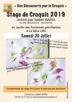 """Croquis sur le Vif """"Jardin des Fontaines Pétrifiantes"""", la Sône (38)."""